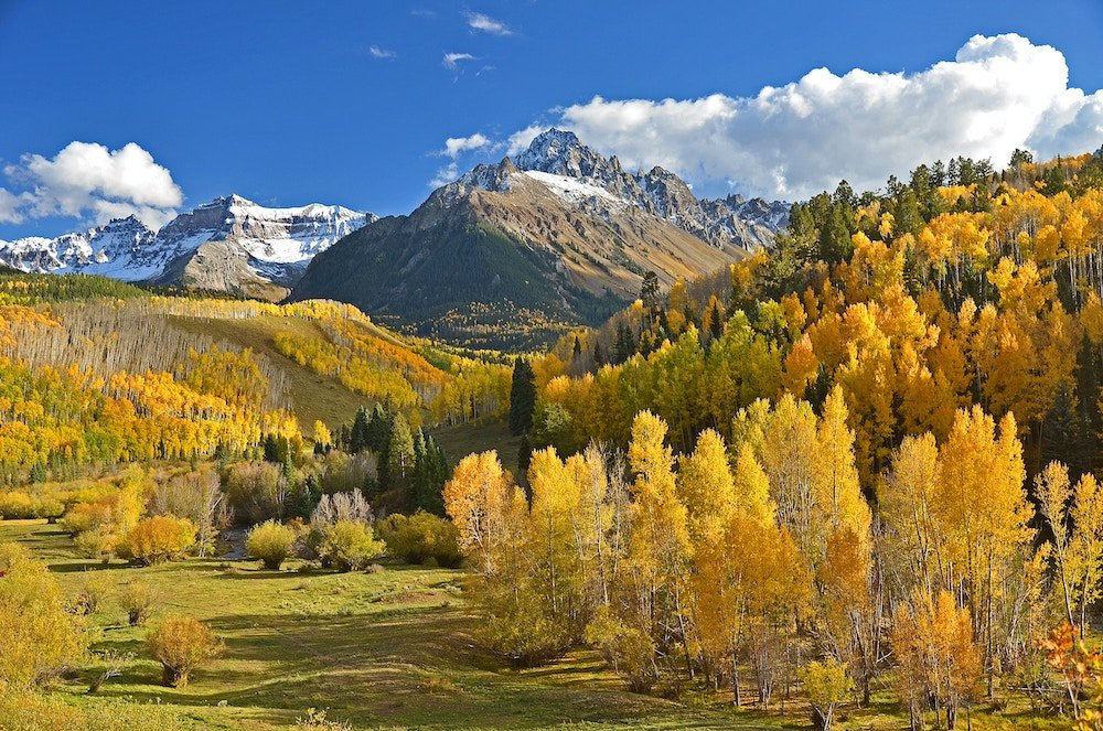 Colorado mountains and trees in autumn