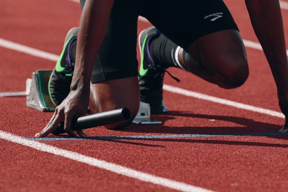 relay athlete preparing to start